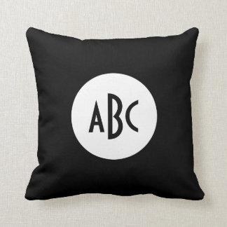 White and Black Circle Monogram Throw Pillow