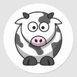 White and black cow round stickers