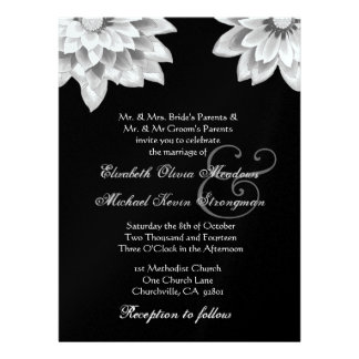 White and Black Daisies Wedding LARGE Personalized Invites