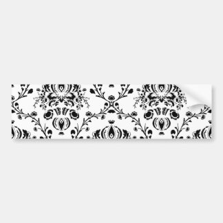 White and Black Damask Bumper Sticker