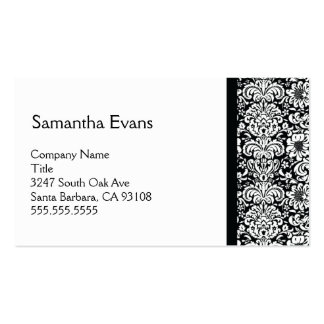 White and Black Damask Business Card