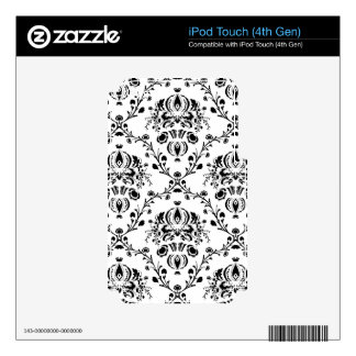 White and Black Damask Decal For iPod Touch 4G