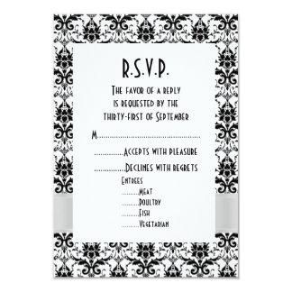 White and black damask formal wedding R.S.V.P 3.5x5 Paper Invitation Card