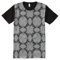 White and Black Damask Pattern All-Over-Print T-Shirt