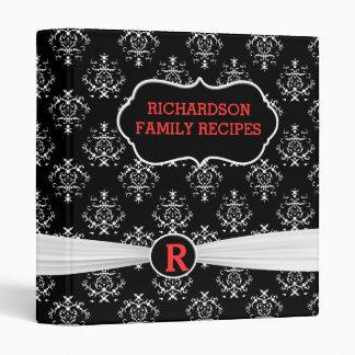 White And Black Damask Recipe 3 Ring Binder