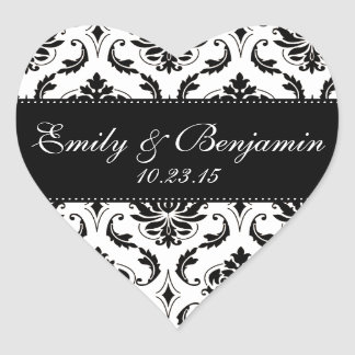 White and Black Damask Wedding Favor Heart Sticker