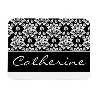 White and Black Damask with Customizable Name Magnet