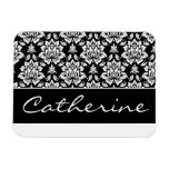 White and Black Damask with Customizable Name Rectangular Photo Magnet