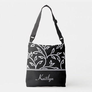 White and Black Decorative Vines | Personalized Tote Bag