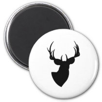 White and Black Deer Silhouette Magnet