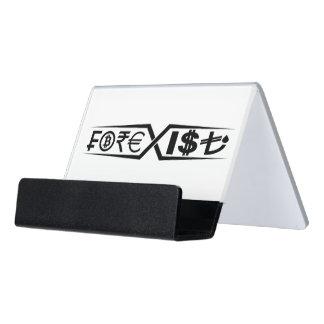 White and black desk business card holder