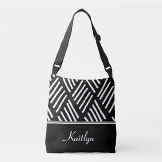 White and Black Diagonal Lines | Personalized Tote Bag