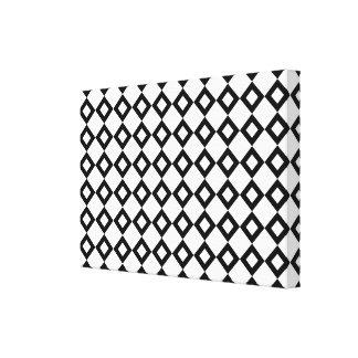 White and Black Diamond Pattern Canvas Print