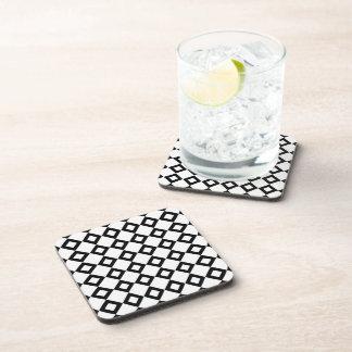 White and Black Diamond Pattern Coaster