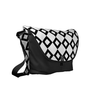White and Black Diamond Pattern Courier Bag