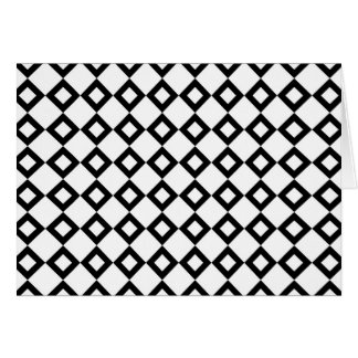 White and Black Diamond Pattern Greeting Card
