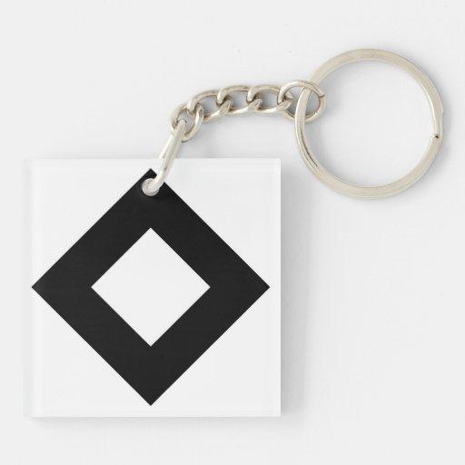 White and Black Diamond Pattern Square Acrylic Key Chains