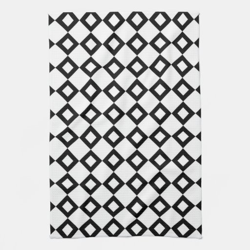 White and Black Diamond Pattern Kitchen Towels
