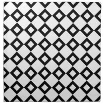 White and Black Diamond Pattern Napkin