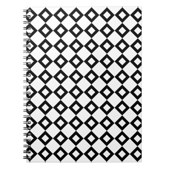 White and Black Diamond Pattern Notebook