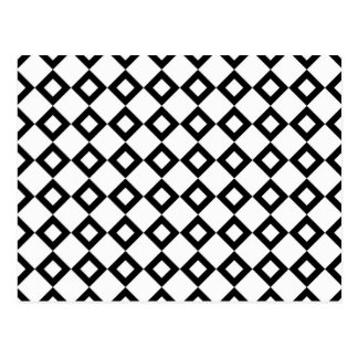 White and Black Diamond Pattern Postcard