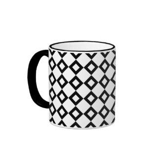 White and Black Diamond Pattern Ringer Mug