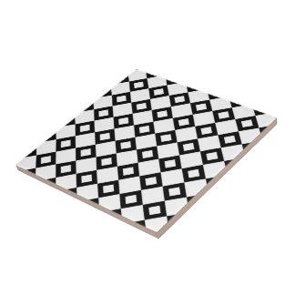White and Black Diamond Pattern Tile