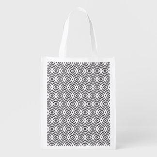 White and Black Diamonds Reusable Grocery Bag
