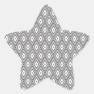 White and Black Diamonds Star Sticker