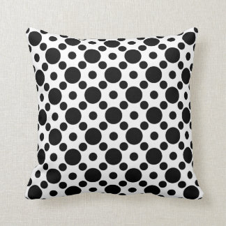 White and Black Dot Pattern Throw Pillow