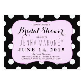 White and Black Dots w/ Pink Border Bridal Shower Card
