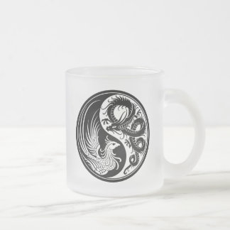 White and Black Dragon Phoenix Yin Yang Frosted Glass Coffee Mug