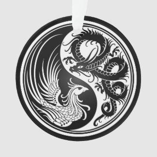White and Black Dragon Phoenix Yin Yang Ornament