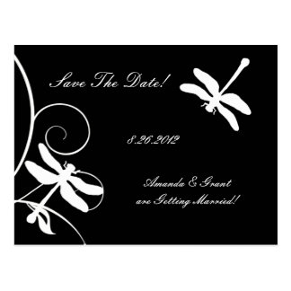White and Black Dragonfly Save The Date Postcard