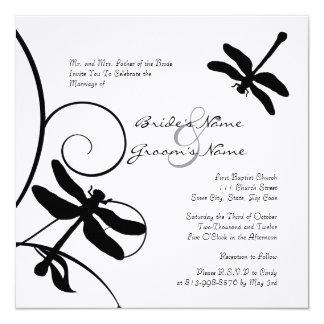 White and Black Dragonfly Wedding Invitation