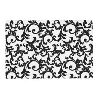 White and Black Elegant Damask Print Placemat