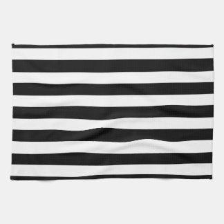 White And Black Elegant Horizontal Stripes Pattern Kitchen Towels