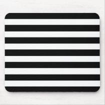 White And Black Elegant Horizontal Stripes Pattern Mouse Pad