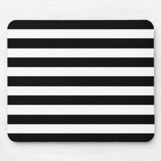 White And Black Elegant Horizontal Stripes Pattern Mouse Pad