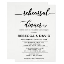 White and Black Elegant Script Rehearsal Dinner Card