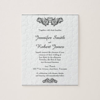 White and Black Floral Filigree Wedding Invitation Jigsaw Puzzle