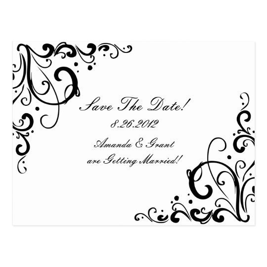 White and Black Flourish Save The Date Postcard