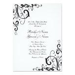 "White and Black Flourish Wedding Invitation 5"" X 7"" Invitation Card"