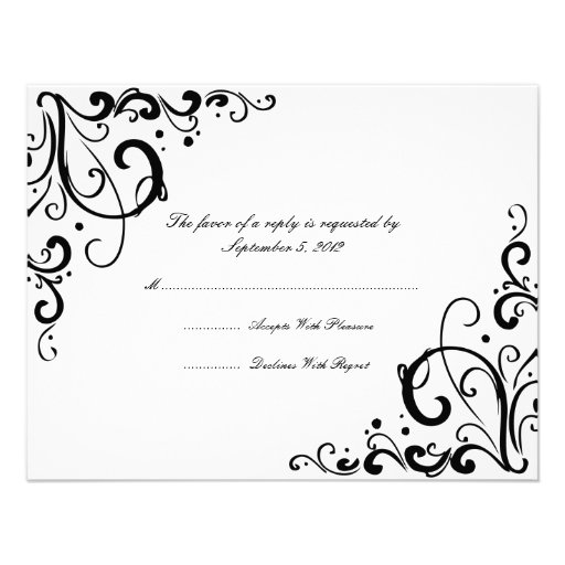 White and Black Flourish Wedding RSVP Invitations