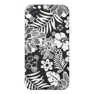 White and black flowers stylish iphone 4 case