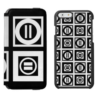 White and Black Geometric Equal Sign Patterns iPhone 6/6s Wallet Case