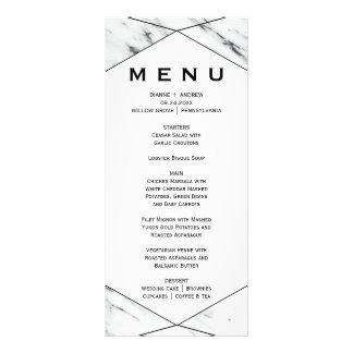 White and Black Geometric Marble Dinner Menu Card