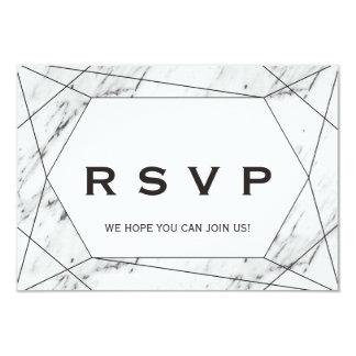 White and Black Geometric Marble Menu Choice RSVP Card