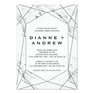 White and Black Geometric Marble Rehearsal Dinner Card