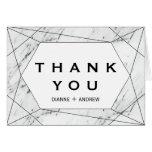 Hand shaped White and Black Geometric Marble Thank You Card
